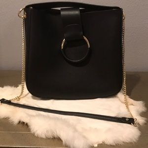 Black and gold ZARA purse
